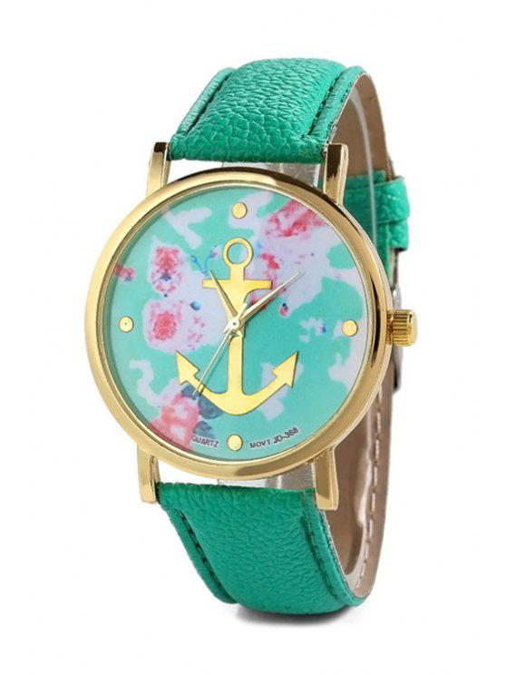 shop Anchor Design Printed Watch - MINT GREEN