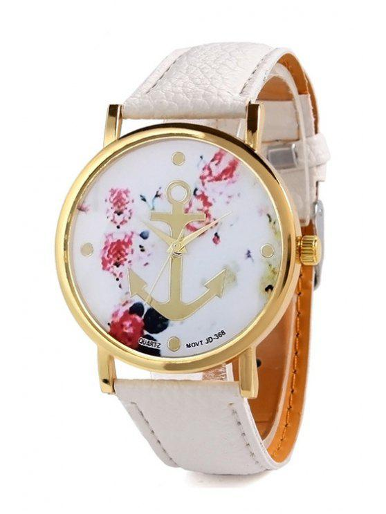 shops Anchor Design Printed Watch - WHITE