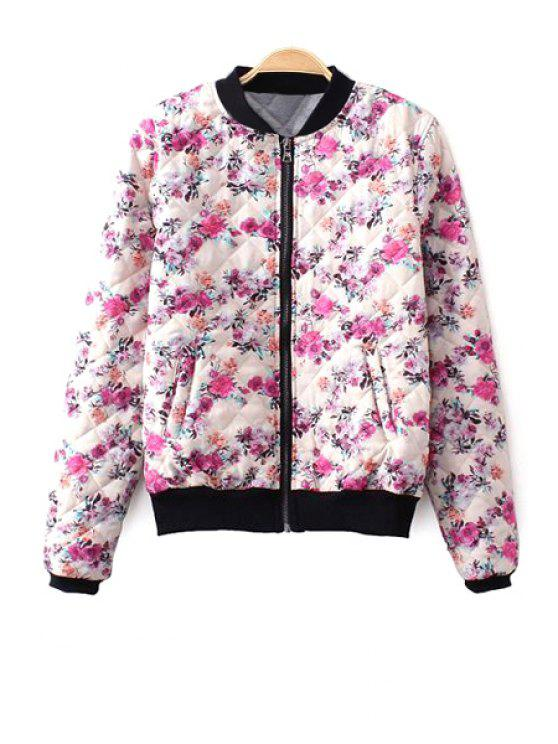 sale Tiny Floral Print Stand Collar Jacket - COLORMIX S