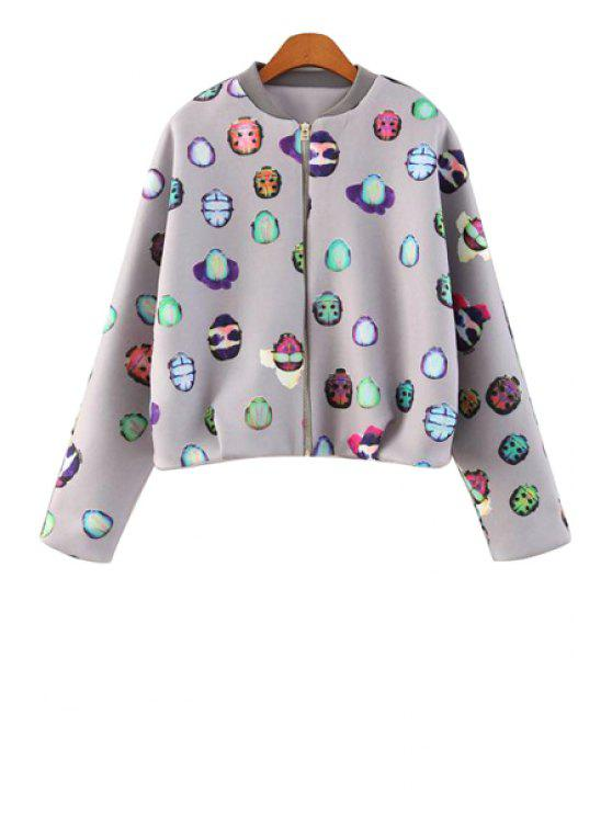 womens Insect Print Stand Collar Jacket - GRAY S
