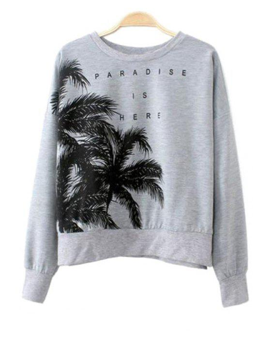 affordable Coconut Tree Print Long Sleeve Sweatshirt - GRAY S