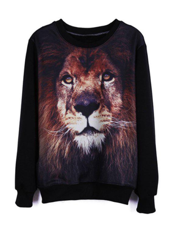lady Lion Print Long Sleeve Sweatshirt - BLACK S
