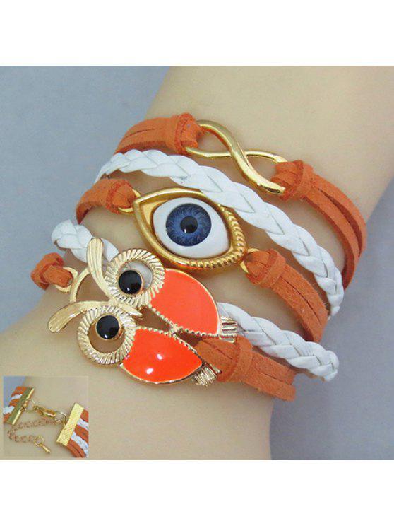 fashion Chic Women's Owl and Eye Shape Friendship Bracelet - COLORMIX