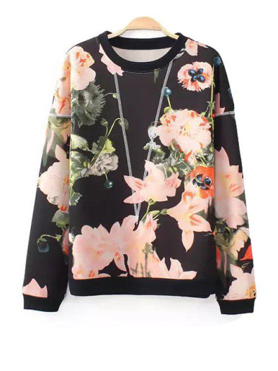 women Floral Pattern Long Sleeve Sweatshirt - BLACK S