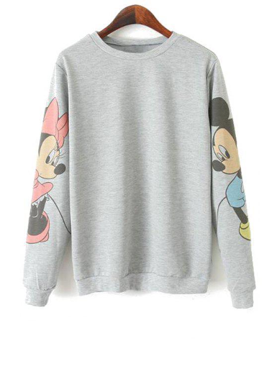shop Character Print Long Sleeve Sweatshirt - GRAY L