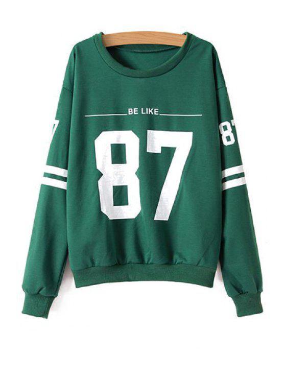outfits Scoop Collar Number Print Sweatshirt - GREEN S