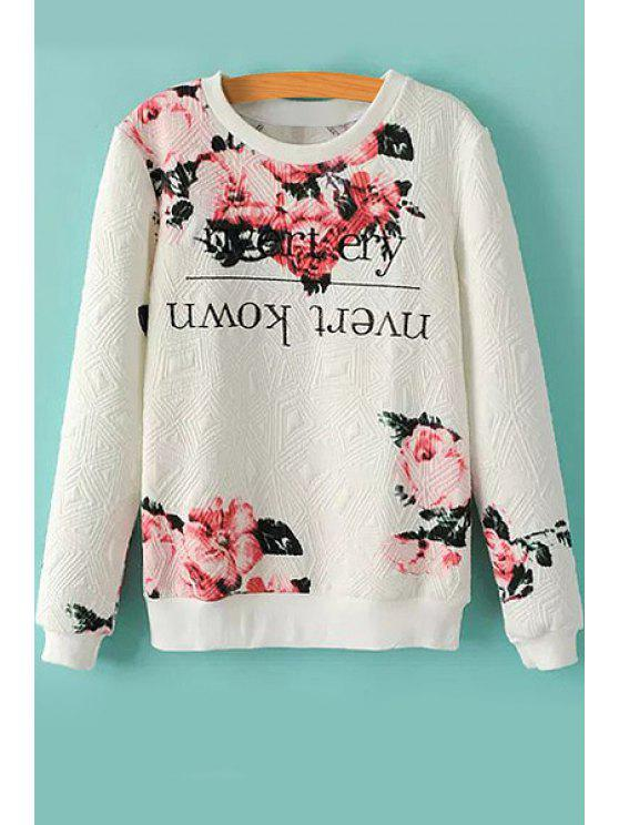 shops Floral and Letter Print Sweatshirt - WHITE M
