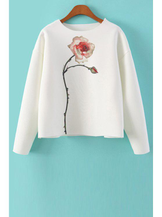 fashion Jewel Neck Floral Print Sweatshirt - WHITE S
