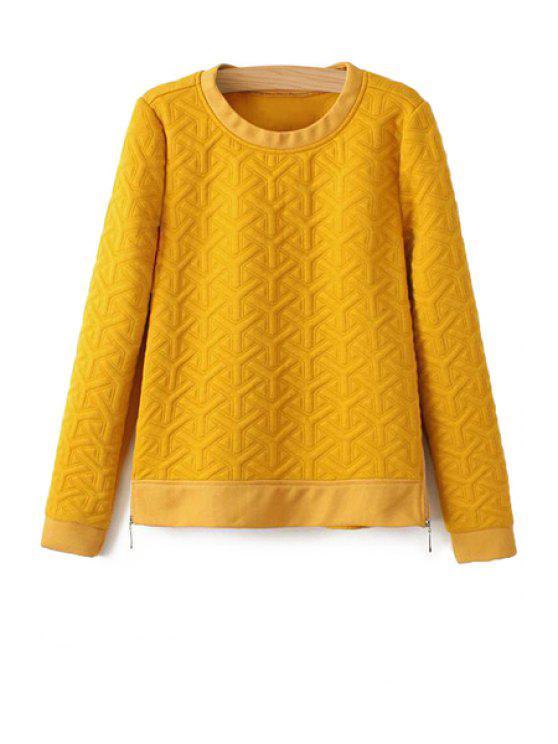 sale Solid Color Zipper Design Sweatshirt - YELLOW S