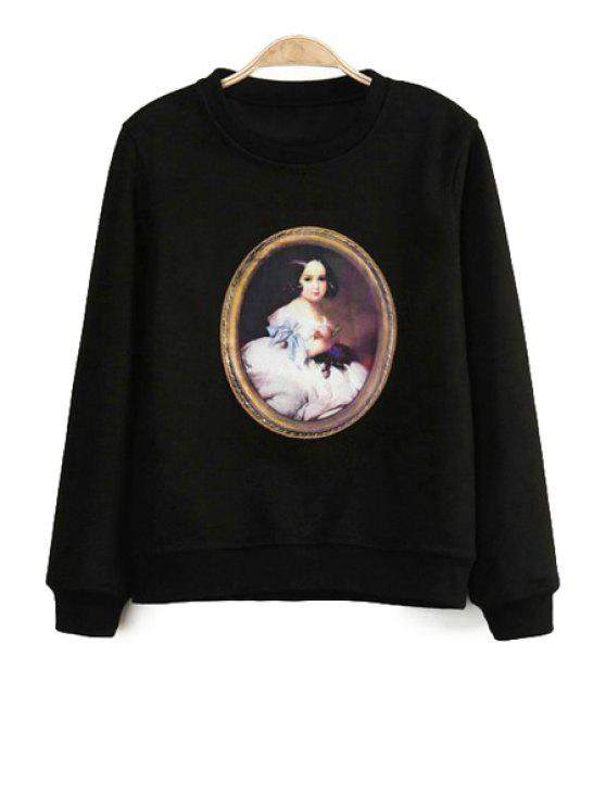 shops Figure Print Long Sleeve Sweatshirt - BLACK S