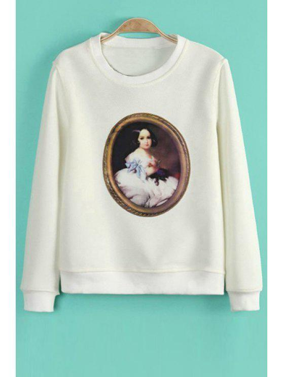 fancy Figure Print Long Sleeve Sweatshirt - WHITE M