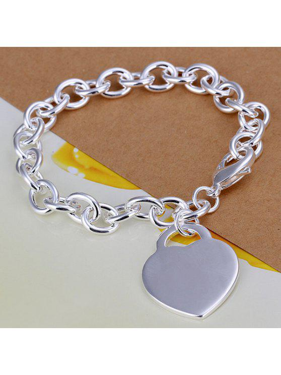 shops Stylish Solid Heart Thick Bracelet - 8 INCHS
