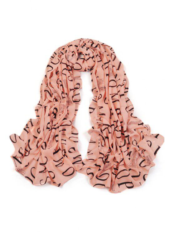outfit English Letters Print Scarf - PINK