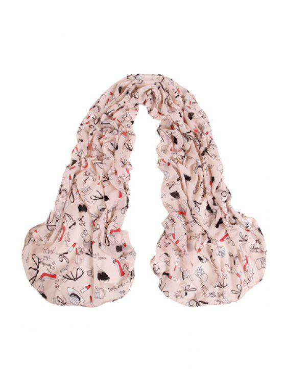 fancy Lipstick Accessories Print Scarf - RED