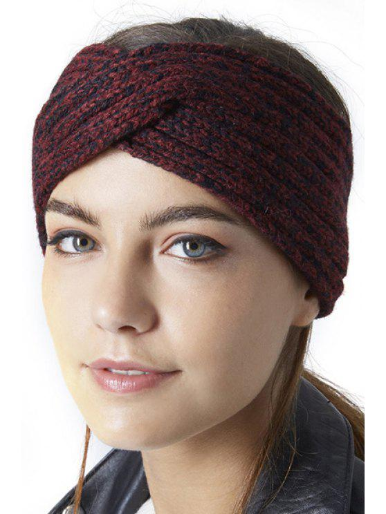 women's Criss Cross Knitted Headband - PURPLISH RED S