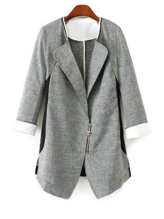 fancy Color Block 3/4 Sleeve Zipper Blazer - GRAY S