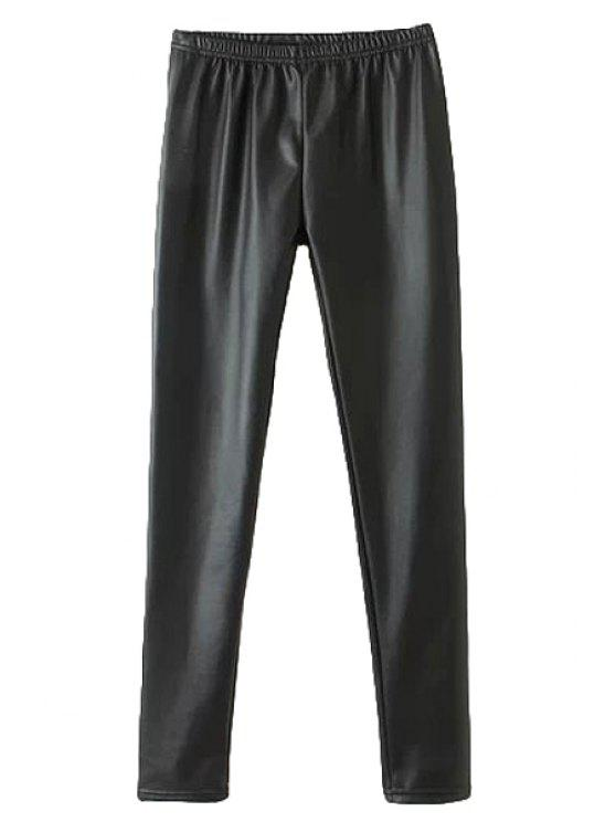 lady Black PU Leather Narrow Feet Pants - BLACK M