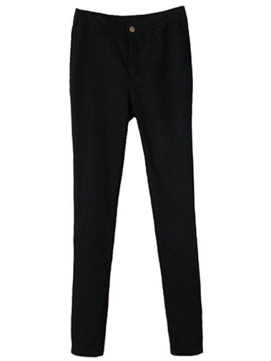 fancy Solid Color Narrow Feet Pants - BLACK S