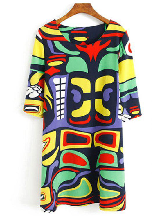 womens Abstract Print Half Sleeve Dress - COLORFUL M