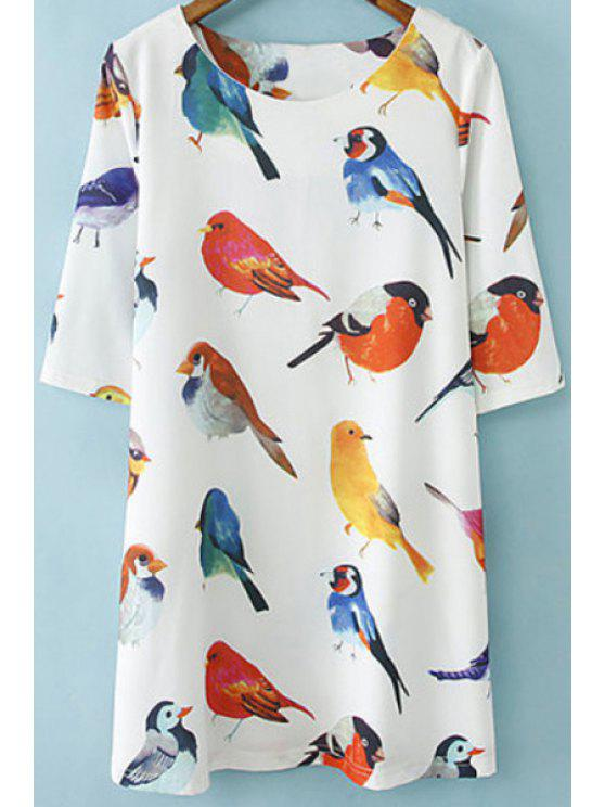 hot Bird Print Half Sleeve Dress - WHITE M