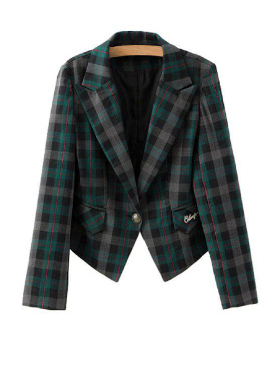women's Plaid Pattern Lapel Neck Blazer - GREEN S