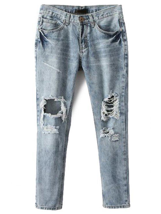 latest Broken Hole Narrow Feet Jeans - ICE BLUE S