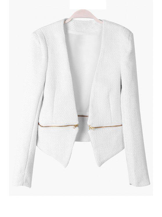 shops Solid Color Long Sleeve Zipper Blazer - WHITE S