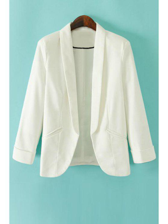 women's Turn-Down Collar Solid Color Blazer - WHITE S