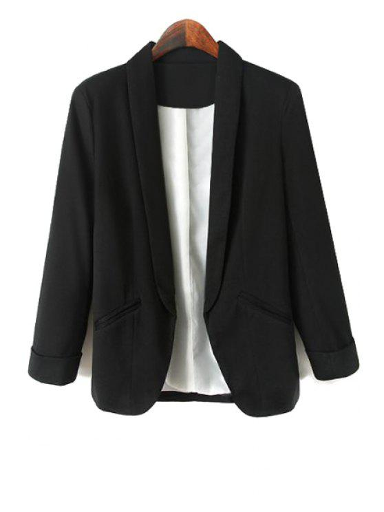 online Turn-Down Collar Solid Color Blazer - BLACK M