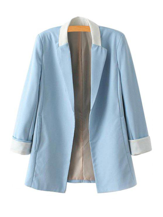 fancy Color Block Long Sleeve Blazer - BLUE S