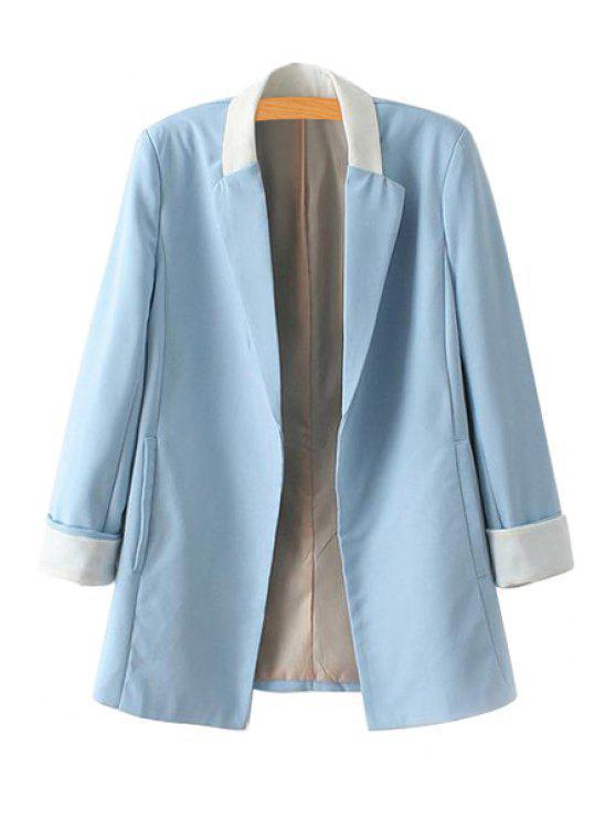 fancy Color Block Long Sleeve Blazer - BLUE S