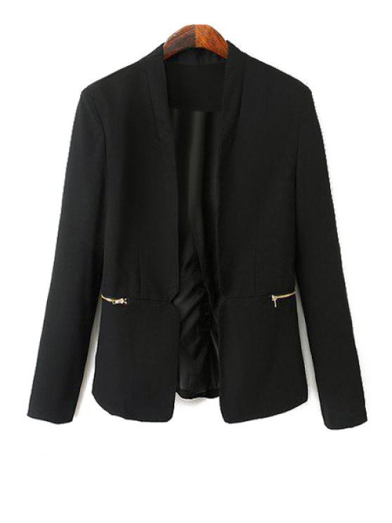 buy Black Long Sleeve Zipper Blazer - BLACK M