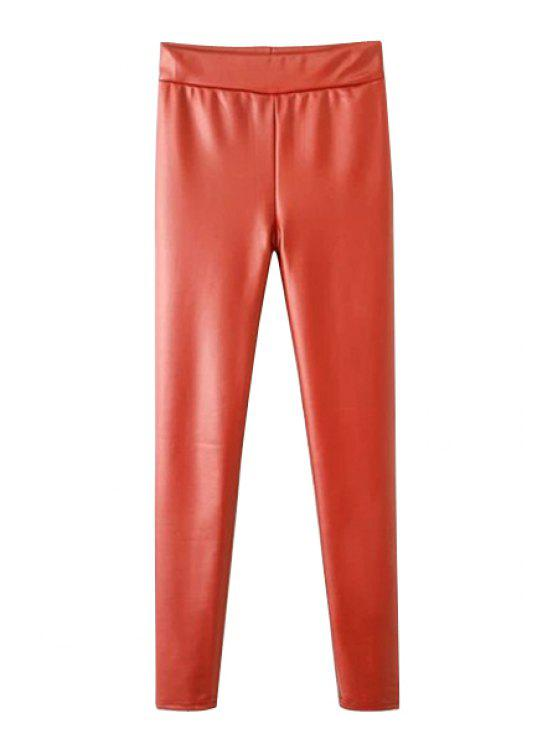 women Narrow Feet Faux Leather Pants - ORANGE ONE SIZE(FIT SIZE XS TO M)