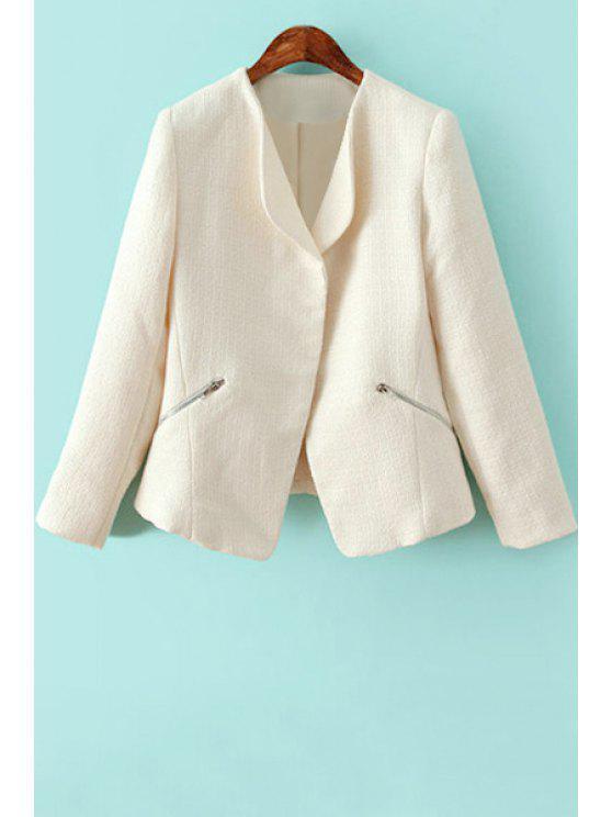 sale Solid Color Zipper Long Sleeve Blazer - WHITE S