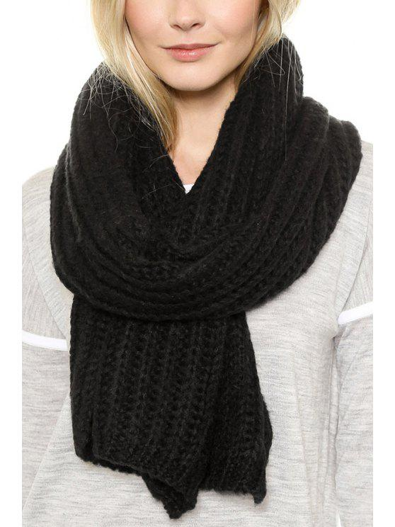 unique Solid Color Knitting Scarf - BLACK
