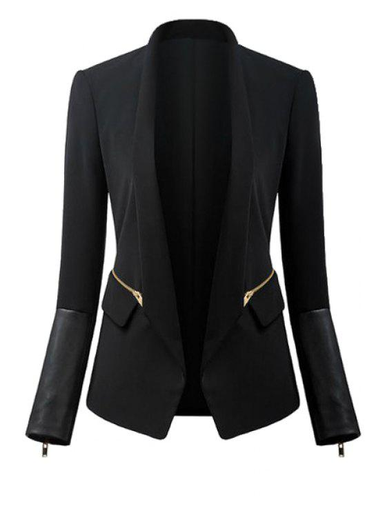 buy Black Turn-Down Collar Zipper Blazer - BLACK S