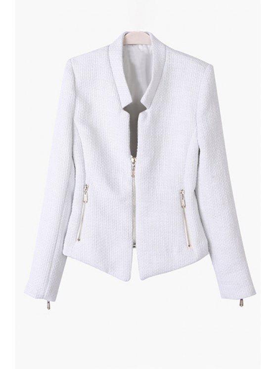 women's Solid Color Stand Collar Zipper Blazer - WHITE S