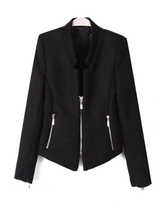 new Solid Color Stand Collar Zipper Blazer - BLACK L