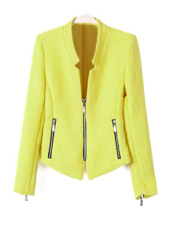 outfits Solid Color Stand Collar Zipper Blazer - YELLOW L