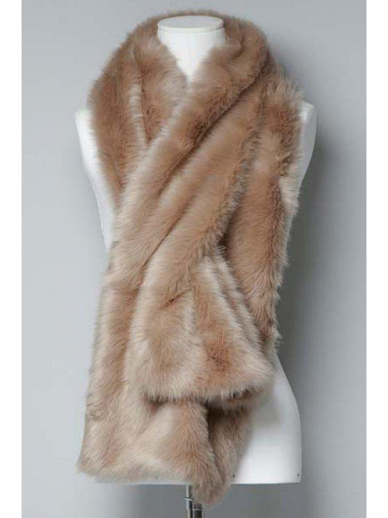 sale Solid Color Faux Fur Scarf - BEIGE
