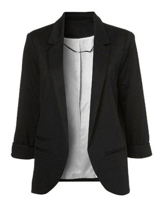 shop 3/4 Sleeve Solid Color Blazer - BLACK 34