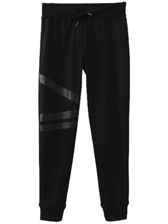 lady Solid Color Drawstring Pants - BLACK S