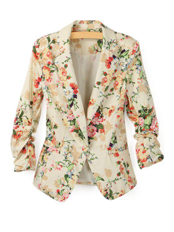 chic Floral Print Lapel Neck Blazer - APRICOT L