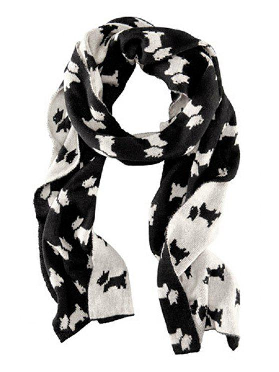 women Doggy Print Scarf - WHITE AND BLACK