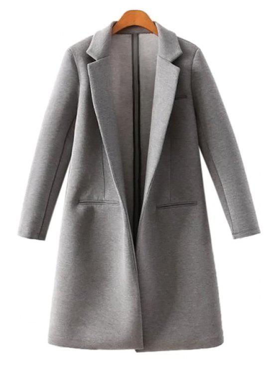 latest Lapel Neck Solid Color Coat - DEEP GRAY S