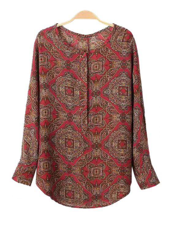 women's Retro Print Long Sleeve Blouse - COLORMIX S