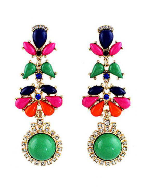 online Pair of Faux Gem Earring - COLORFUL