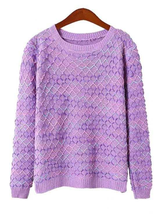 latest Argyle Knit Pattern Sweater - PURPLE ONE SIZE(FIT SIZE XS TO M)