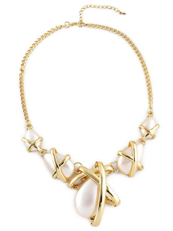 new Faux Pearl Embellished Necklace - AS THE PICTURE