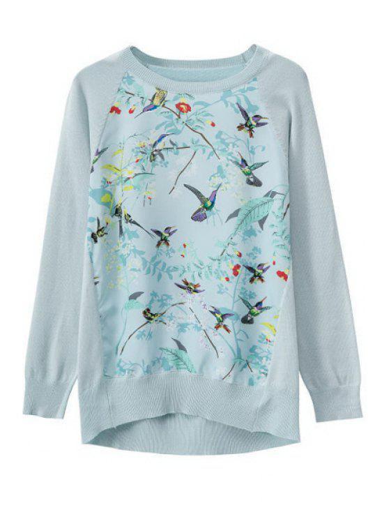 trendy Print Splicing Long Sleeve Knitwear - LIGHT BLUE S
